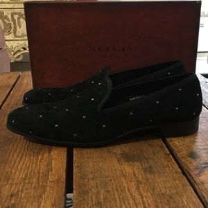 Mezlan Luxury Black Velvet Venetian Loafer 11 NIB